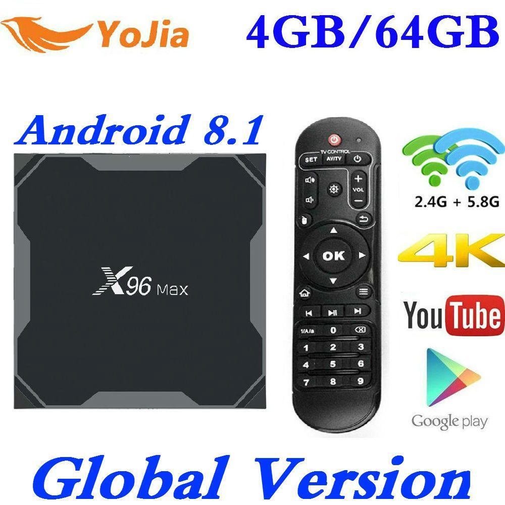 Android 8.1 TV Box X96 Max Amlogic S905X2 4K Media Player 4GB RAM 64G X96Max DDR4 QuadCore 2.4G&5G Dual Wifi pk T9 H96 MAX Plus