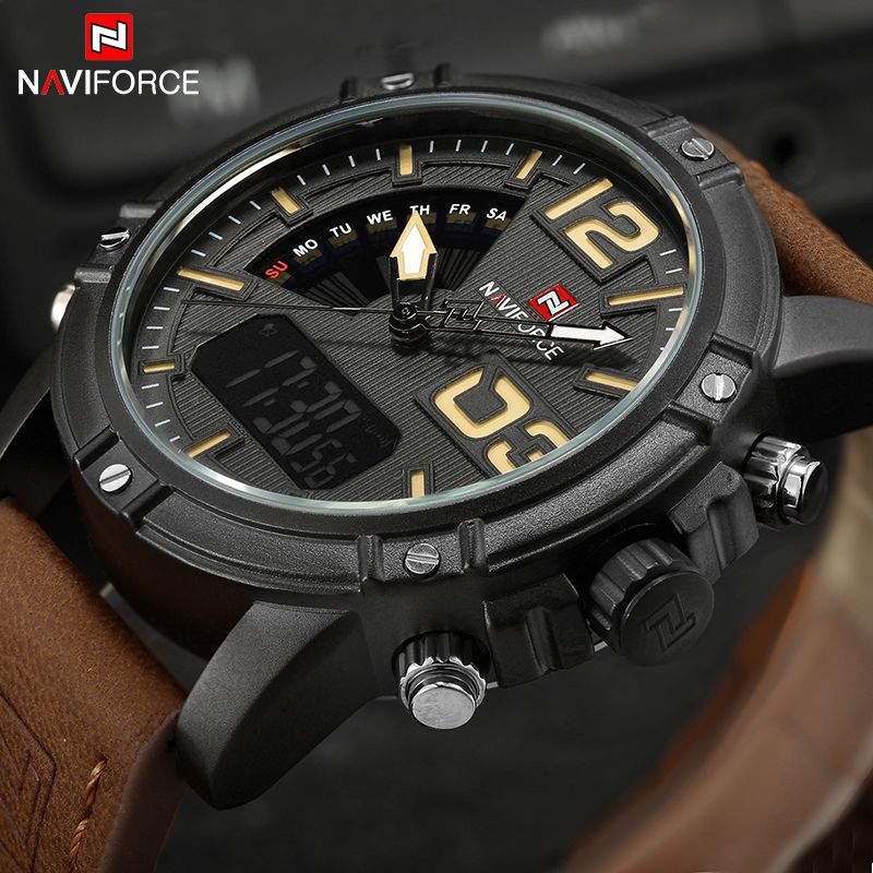 NAVIFORCE Luxus Marke männer Sport Uhren Männer Dual Display LED Digitale Wasserdichte Lederband Quarz Militär Uhr Mann Uhr