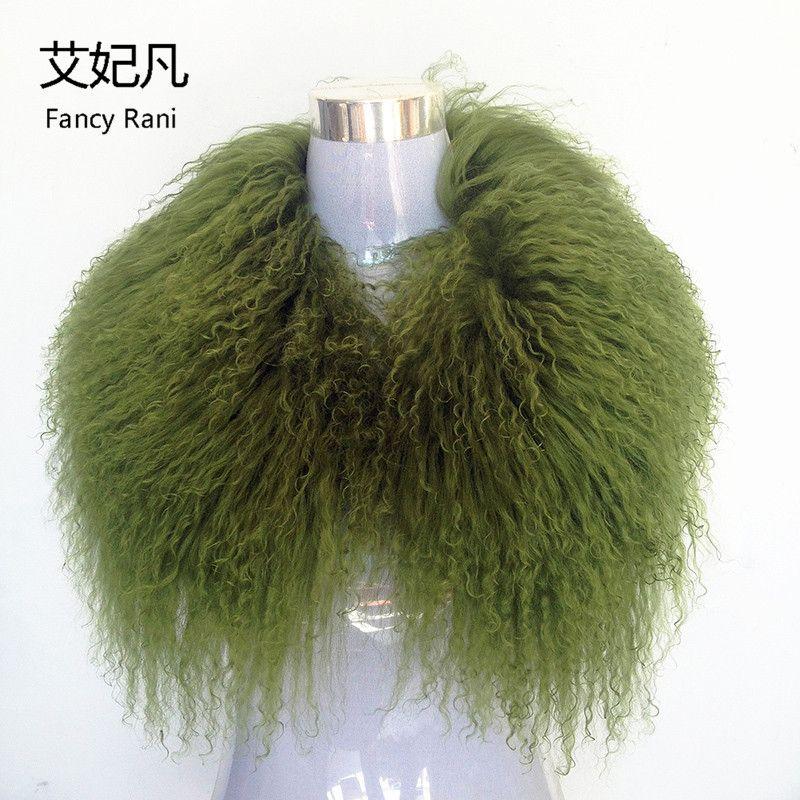 Genuino real lana Pieles de animales collar verde mujeres 2018 noble moda playa real larga Pieles de animales Collares para Abrigos de plumas chaqueta venta al por mayor