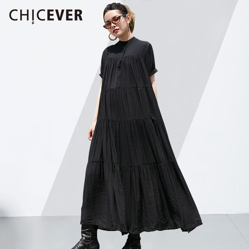 CHICEVER 2018 Spring Summer Black Women Dress Short Sleeve Pleated Loose Big Size Long Dresses Clothes Fashion New