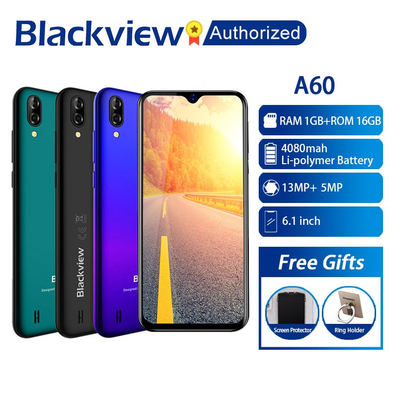 Blackview A60 téléphone 1 GB RAM 16 GB ROM Smartphone 6.088 19.2: 9 affichage plein écran MT6580A Quad Core 8MP Android 8.1 téléphone portable