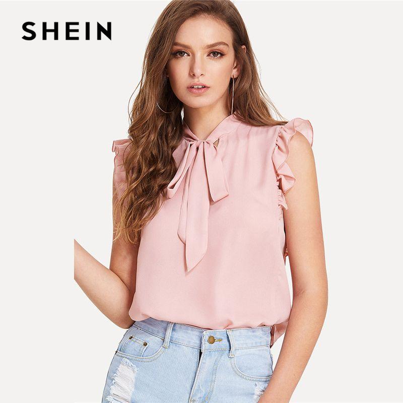 SHEIN Tie Neck Ruffle Armhole Sleeveless Blouse 2018 Summer <font><b>Stand</b></font> Collar Sleeveless Elegant Modern Top Women Pink Solid Blouse