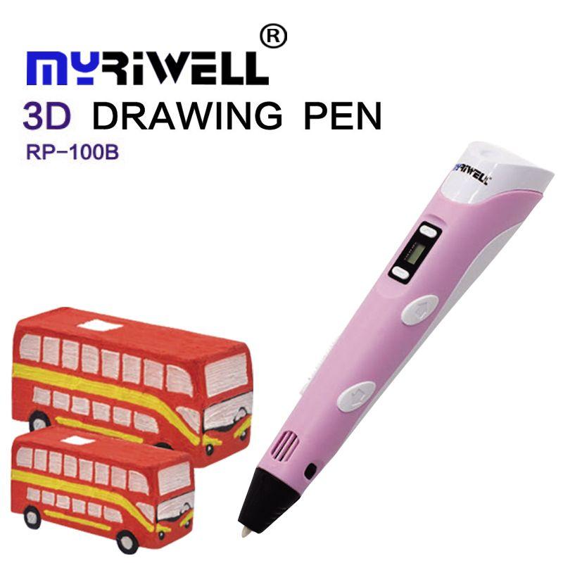3d pen Myriwell 2 Generation LCD Display DIY 3D Printing Pen Arts 3D pens For Kids Drawing Tools high quality ABS PLA plastic