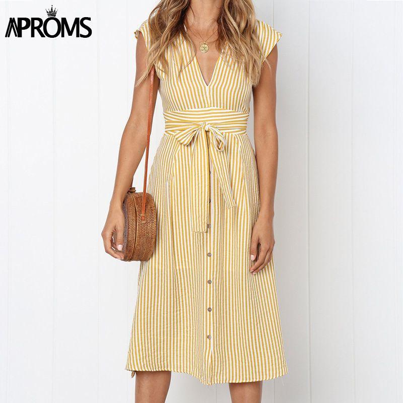 Aproms Vintage rayure imprimé robe mi-longue femmes élégant V profond ceinture cravate moulante robes femme été Streetwear robes d'été 2019