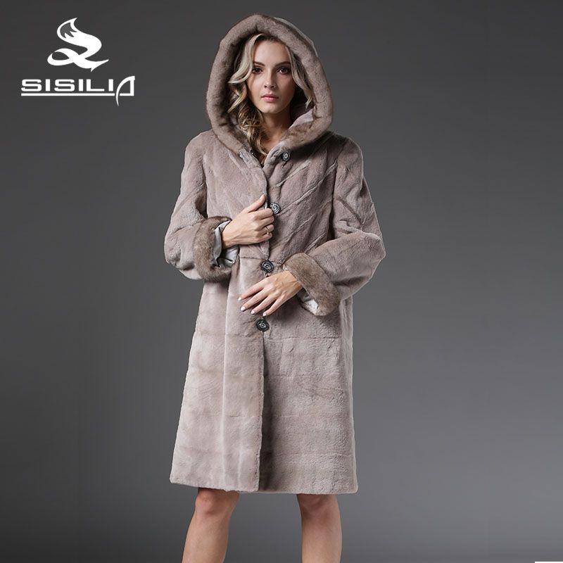 SISILIA 2016 Новый Зима Теплая Мода Стиль Меховые Парки Норки Китай Шуба С Норки Капот Шуба Завод Прямых Продаж