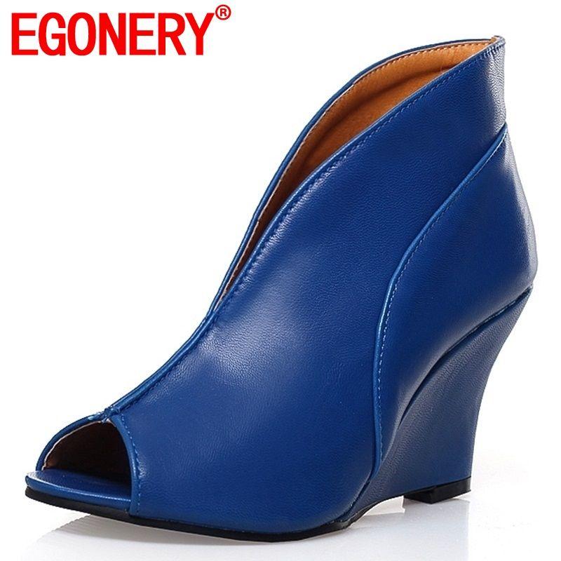 Egonnerie fait à la main Rome Sexy nouveauté Peep Toe pompes mode grande taille femme chaussures à semelles compensées printemps été 8.5cm talons hauts femmes chaussures