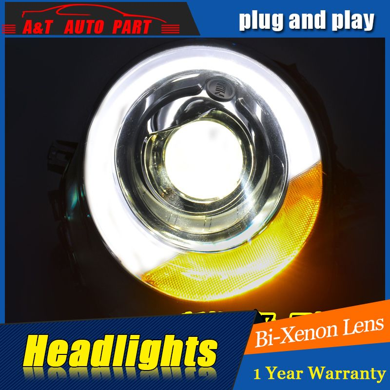 Car Styling For Mini F56 cooper headlight assembly For F56 LED head lamp Angel eye led DRL front light h7 with hid kit 2pcs.