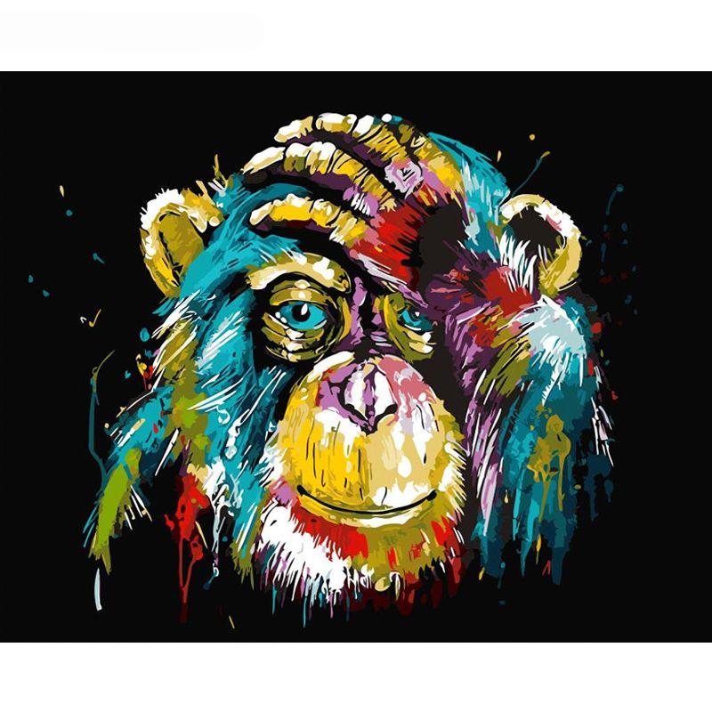 Peinture par numéros bricolage livraison directe 40x50 50x65cm coloré orang-outan Animal toile mariage décoration Art photo cadeau