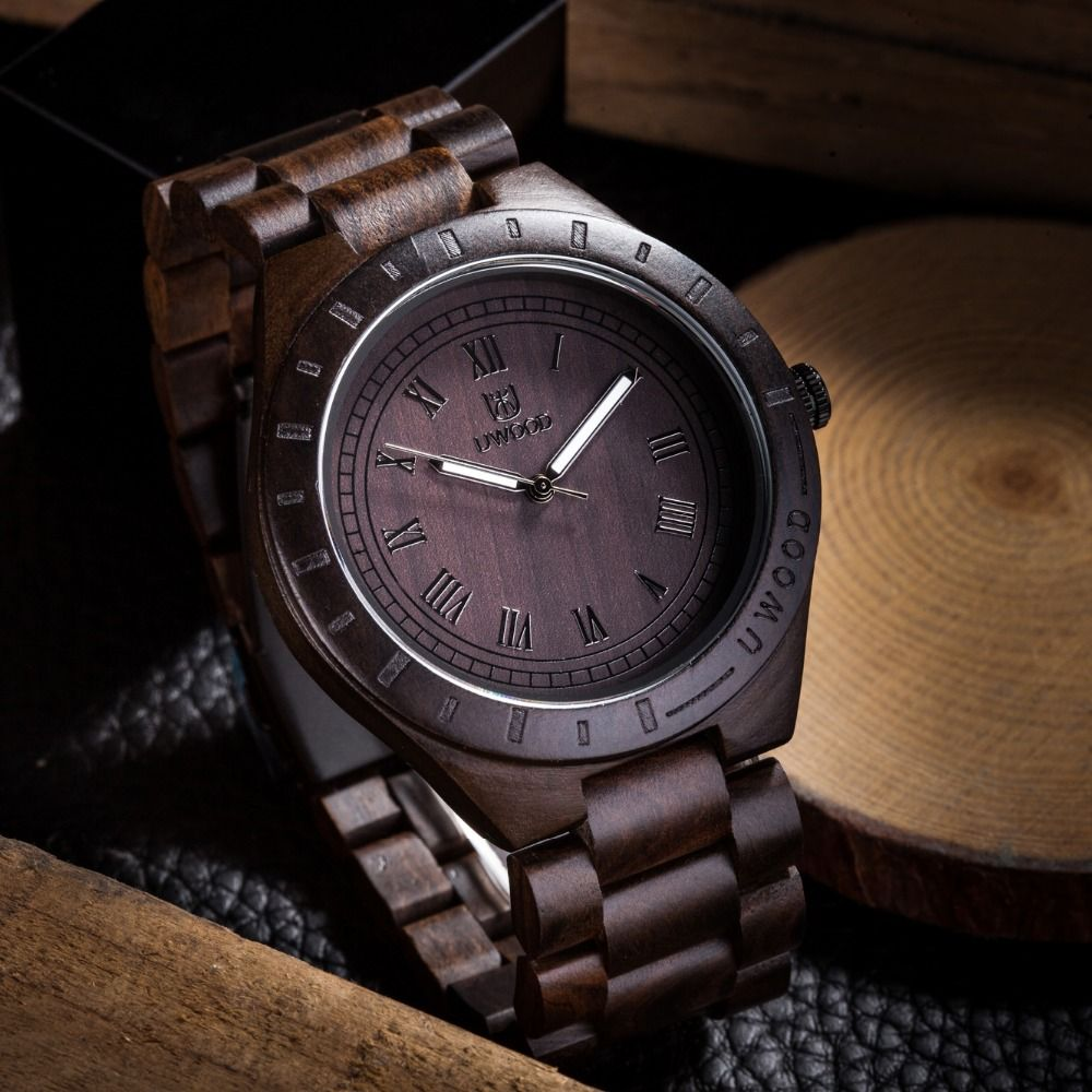2018 Hot <font><b>Sell</b></font> Men Dress Watch QUartz UWOOD Mens Wooden Watch Wood Wrist Watches men Natural Calendar Display Bangle Gift Relogio