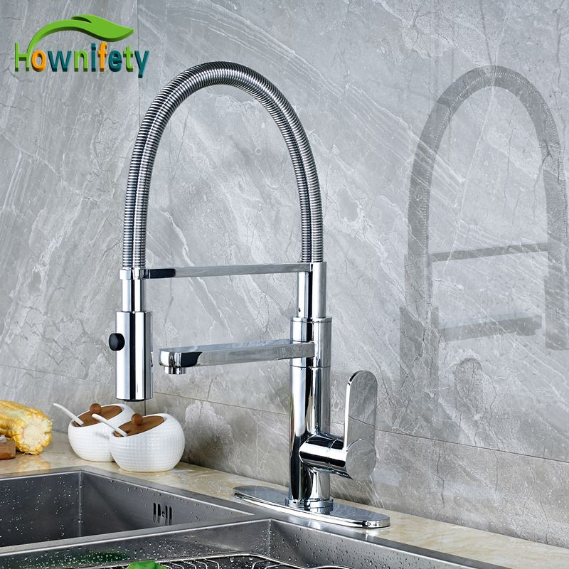 Kitchen Sink Mixer Taps Deck Mounted Single Handle Single Hole Water Faucet Chrome