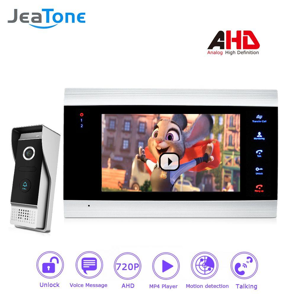 720P/AHD Intercom 4 Wired 7'' Video Door Phone DoorBell Door Speaker Security System Voice message/Motion Detection/MP4 Player