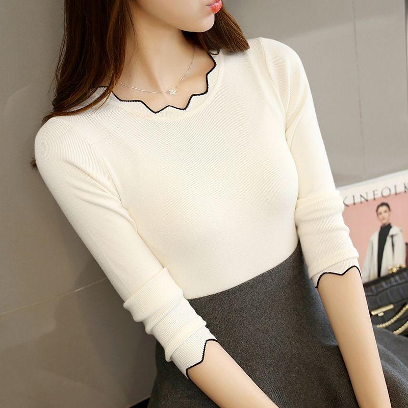 Зимняя женская одежда вязание свитера пуловеры Майки женские узкие тонкий Простой дна рубашки для женщин Весна
