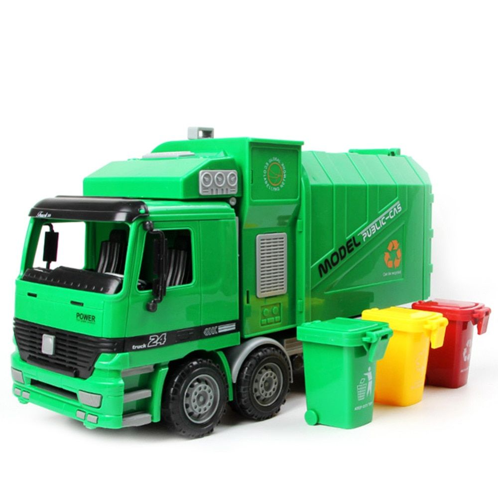 Hot sale 1pc 1:22 Large Size Children Simulation Inertia Garbage Truck Sanitation Car Toy Kid toys Wholesale
