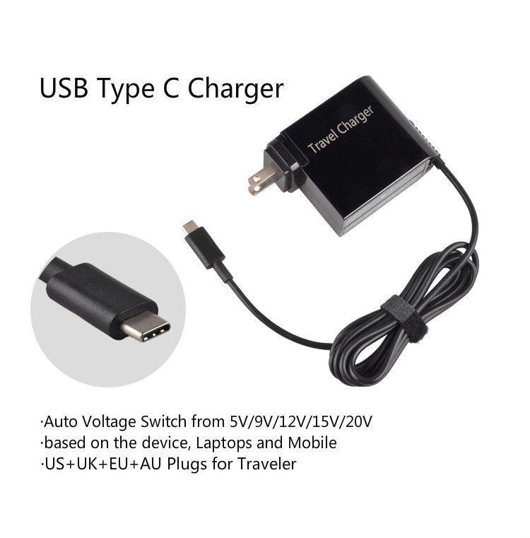 20 V 3.25A 65 Watt Universal USB Typ C Laptop Handy Power Adapter Ladegerät für Lenovo Asus HP Dell Xiaomi Huawei Google 4 stecker
