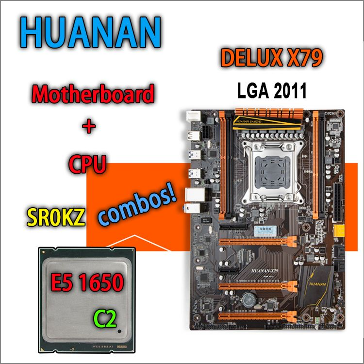 HUANAN golden Deluxe version X79 gaming motherboard for intel LGA 2011 ATX combos E5 1650 C2 SR0KZ DDR3 RECC Memory max 64gb