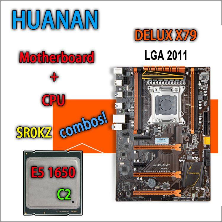 HUANAN golden Deluxe version X79 gaming motherboard for intel LGA 2011 ATX combos E5 1650 C2 SR0KZ DDR3 RECC Memory max 64gb