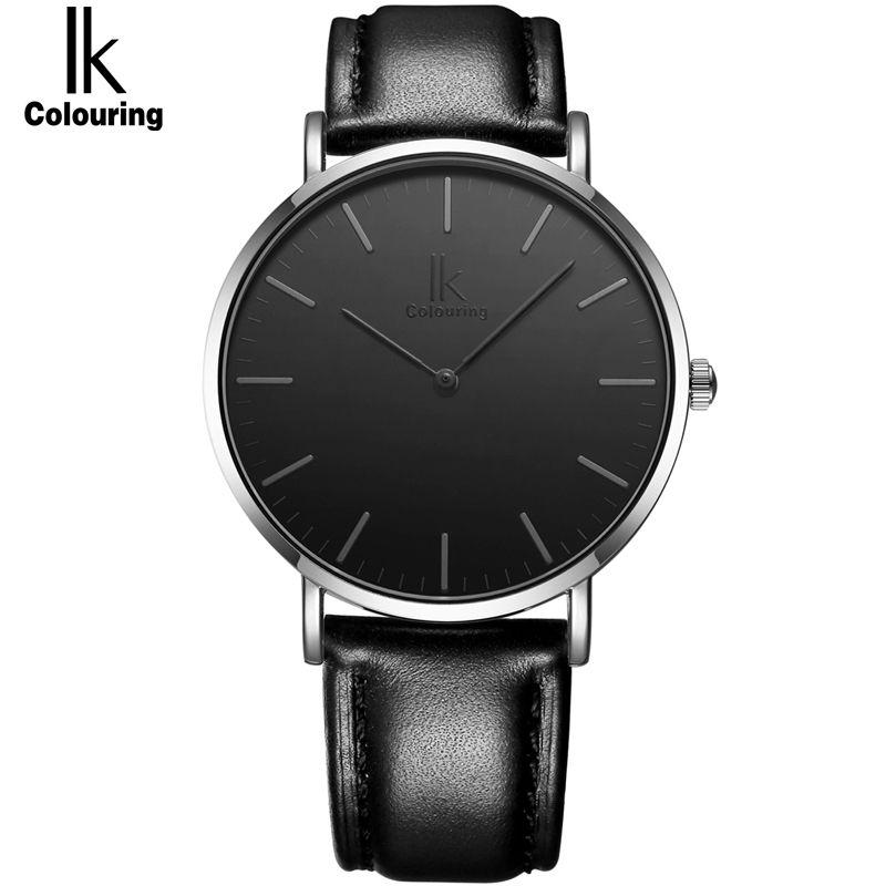 IK раскраски ультра тонкий минималистский модные повседневные мужские часы лучший бренд класса люкс Натуральная кожа на кварцевые часы дел...
