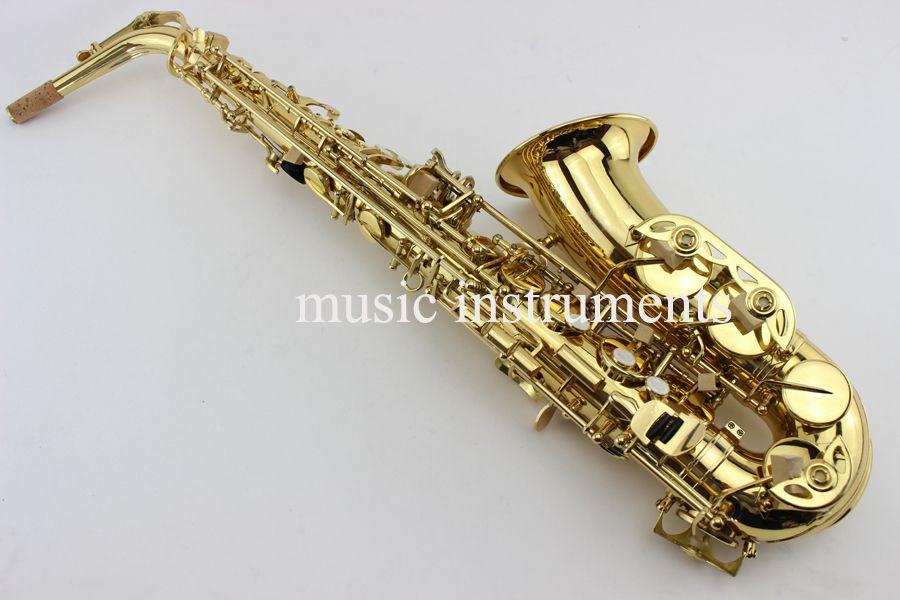 82z Neue Benutzerdefinierte Alto Saxophon Gold Lack Messing Instrumente Professionelle Sax Mundstück Mit Fall und Zubehör