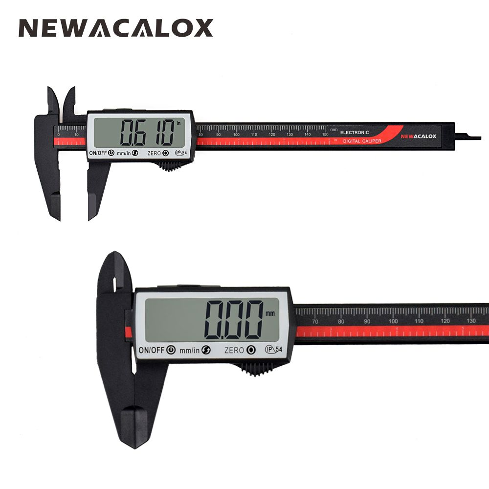 NEWACALOX Touch Digital Caliper Carbon Fiber Ruler Extra Large LCD <font><b>Screen</b></font> Inch/Metric Conversion 0-6 Inch/150 mm Measuring Tool