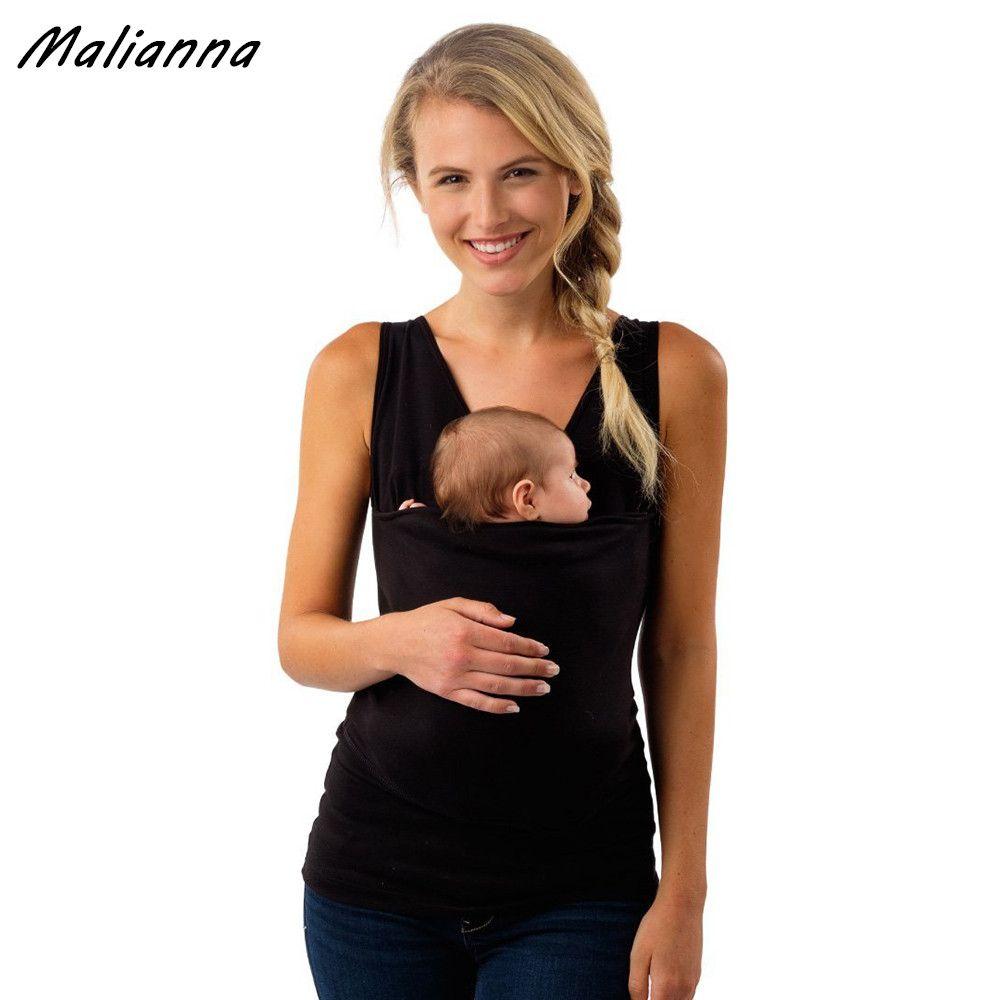2017 Verano ropa Portador de Bebé para la madre Sin Mangas Grandes Bolsillos Canguro Camiseta Femme multifunción Ropa Tops Tallas grandes