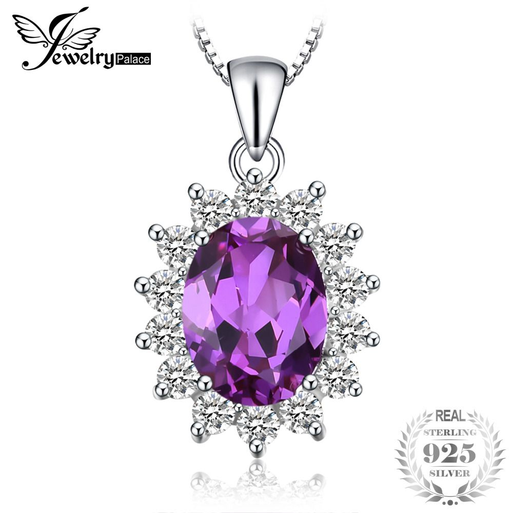 Jewelrypalace Princess Diana William Middleton's 3.2ct Created Alexandrite Sapphire <font><b>Pendant</b></font> 925 Sterling Silver Without a Chain