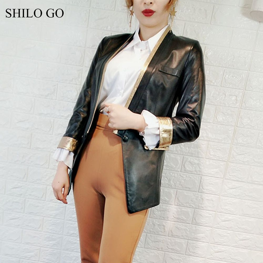 SHILO GO Leather Jacket Womens Spring Fashion sheepskin genuine leather coat V Neck single button office OL concise slim coat