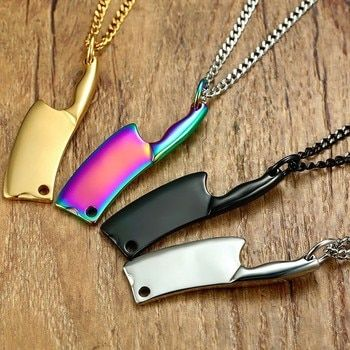 Mini Blade Chef Kitchen Knife Pendant Necklace for Men Women Stainless Steel Hip Hop Male Jewelry Black Rainbow Gold Silver Tone