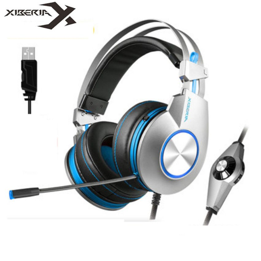 XIBERIA K5 PC Gaming Headset Headphones gaming for Computer Casque USB 7.1 Surround Stereo Headphone with Microphone Led light