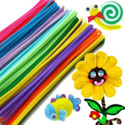 100Pcs/set Plush Stick Rainbow Colors Shilly-Stick Educational DIY Animal Toys Handmade Art Craft Creativity Devoloping Toys