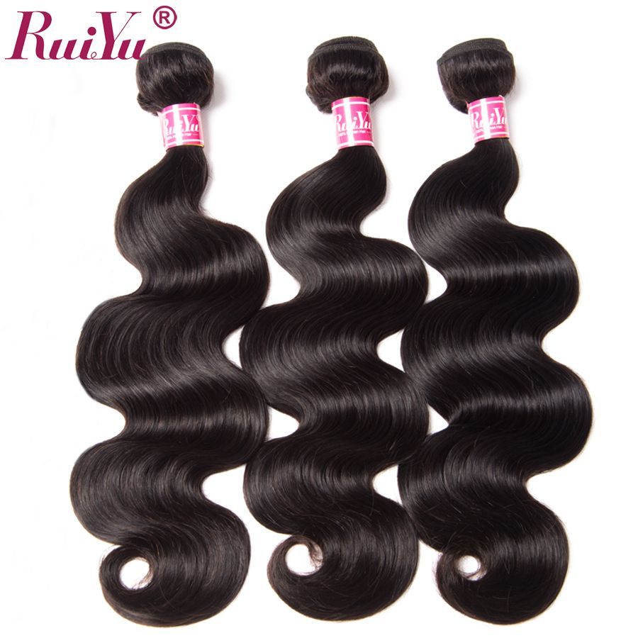 RUIYU Hair Brazilian Body Wave Hair Weave Bundles Human Hair Extensions Can Buy 3 Or 4 Bundles Natural Color Non Remy 1pc Only