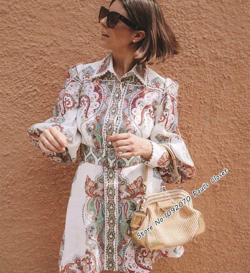 Femmes Blouson manches en filigrane chemise robe en Lennon Paisley Style piste audacieuse lin chemise robe