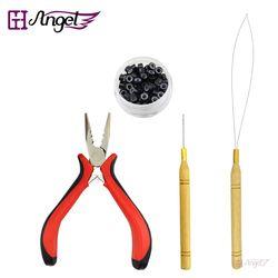 HOT! 1 bottle/100pcs Micro Links/Beads+2pcs Pulling Needle+1pc 3 holes plier Hair Extensions Tool kit