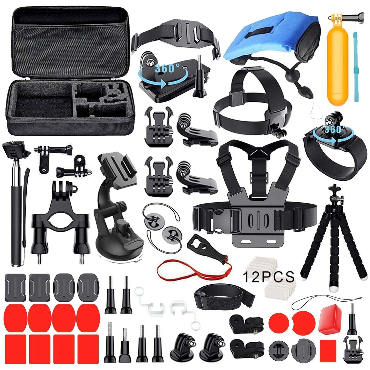 GoPro Accessories Kit Set with Carrying Case for Hero 2018/Fusion /Hero 6/5 Session/Hero 4& Xiaomi SJ4000 SJ5000 Action Camera
