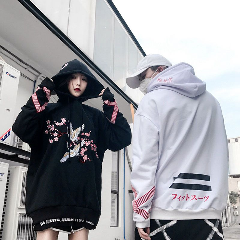 Cranesembroidered flowers add hair thickening hooded fleece single men and women lovers loose BF hip-hop cap unlined upper garm