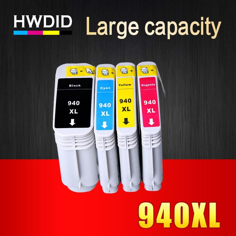 HWDID 4Pcs 940XL Compatible Ink Cartridge Replacement for HP 940 XL C4906A C4907A C4908A C4909A For HP Officejet Pro 8000 8500