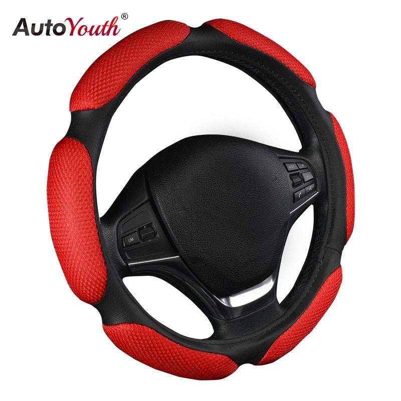 AUTOYOUTH Car Steering Wheel Cover Breathability Skidproof Universal Fits Most Car Styling Steering Wheel Red Steering Covers