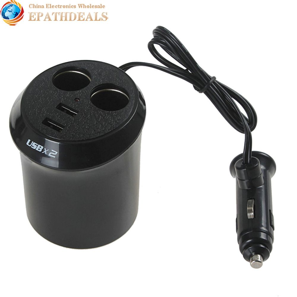 Black 12V Dual USB Port 2 Sockets Car Cigarette Lighter Charger Auto Power Adapter Splitter for Phone iPod MP3 PDA