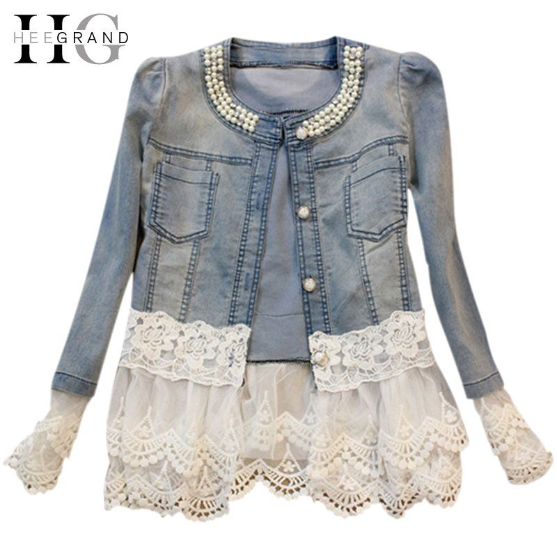 HEE GRAND Jeans Jacket Women Casacos Feminino Slim Lace Patchwork Beading Denim Lady Elegant Vintage Jackets Coat DropshipWWJ084