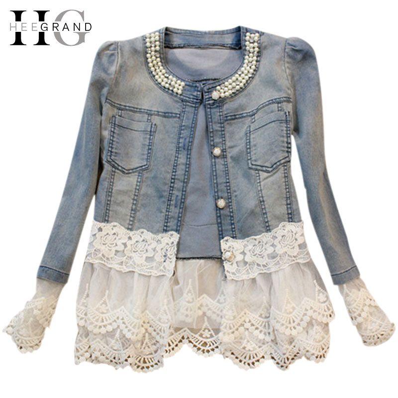 HEE GRAND Jeans Jacket Women Casacos <font><b>Feminino</b></font> Slim Lace Patchwork Beading Denim Lady Elegant Vintage Jackets Coat DropshipWWJ084