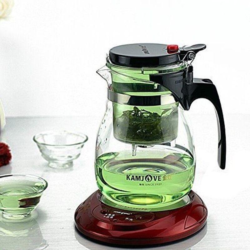 Kamjove Glass Kungfu Teaset Press AUTO-OPEN Art tea Cup Teapot with Infuser TP-757 700ml <font><b>elegant</b></font> style tea sets infuser de cha