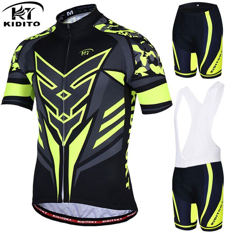 KIDITOKT Farine Jaune D'été Cyclisme Maillot Cyclisme costume vestimentaire courtes manches VTT revêtements de vélo Montagne tenue de sport
