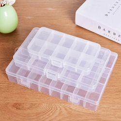 XUNZHE almacenamiento 10-24 rejilla de plástico Almacenamiento de cosméticos joya grano cubierta del caso caja de almacenamiento de contenedores organizador ajustable