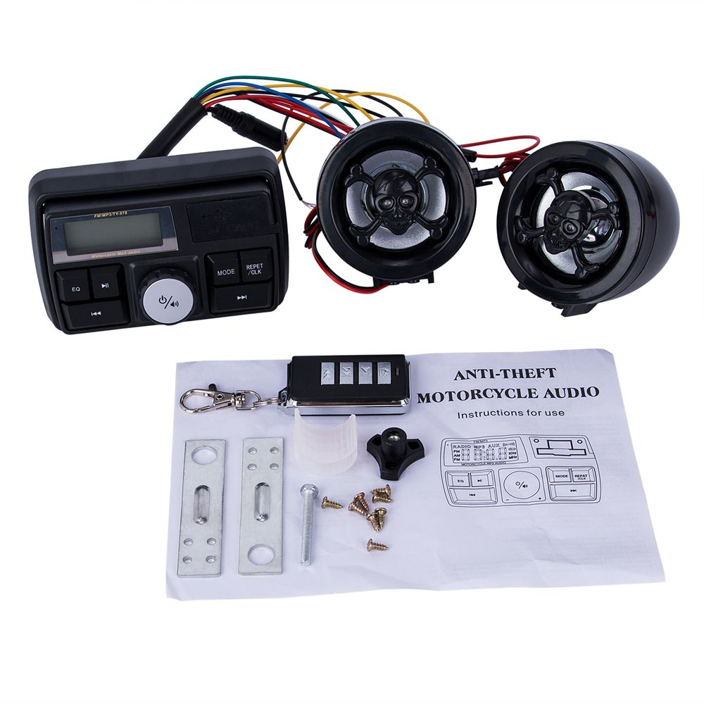Waterproof Radio for Motorcycle Audio FM TF MP3 USB/SD Handle Bar Stereo 2 Speakers Car Sound System Alarm Motorbike Anti-Theft