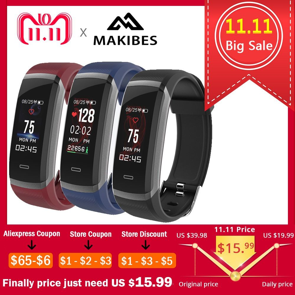 11.11 Big Sale Lowest to $15.99 Makibes HR3 Wristband Bluetooth Bracelet Continuous Heart Rate Monitor Fitness Tracker SmartBand