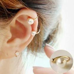 ed090  2018 amazing price! New Clip Earrings Imitation Pearl Jewelry Earrings Pear Earrings Wedding Cuff Clip