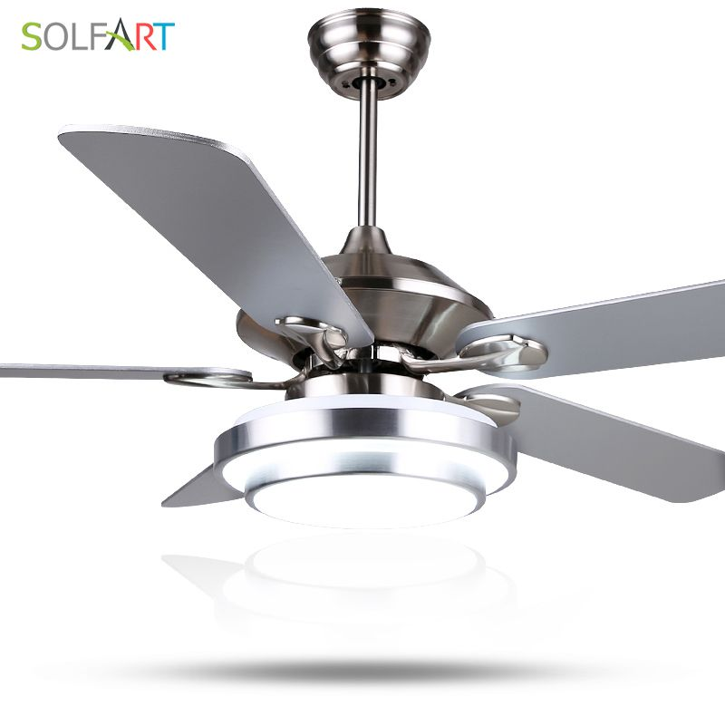 SOLFART ceiling fan modern LED wood ceiling fans with lights silvery Bronze 42inch 48inch 52inch decorative fans SLF8995