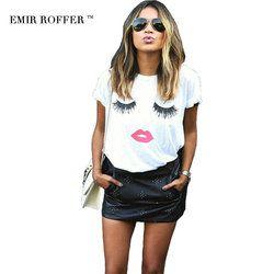 L'ÉMIR ROFFER cils lèvres rouges t-shirts imprimés lettres T-shirt femelle plus la taille d'été t-shirt femme harajuku chemise femmes tops