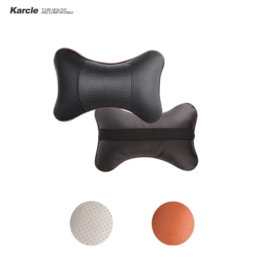 Karcle 2PCS Double Sided PU Leather Car Neck Pillow Breathable Neck Headrest Pillows Car Covers Neck Cushion Auto Accessories