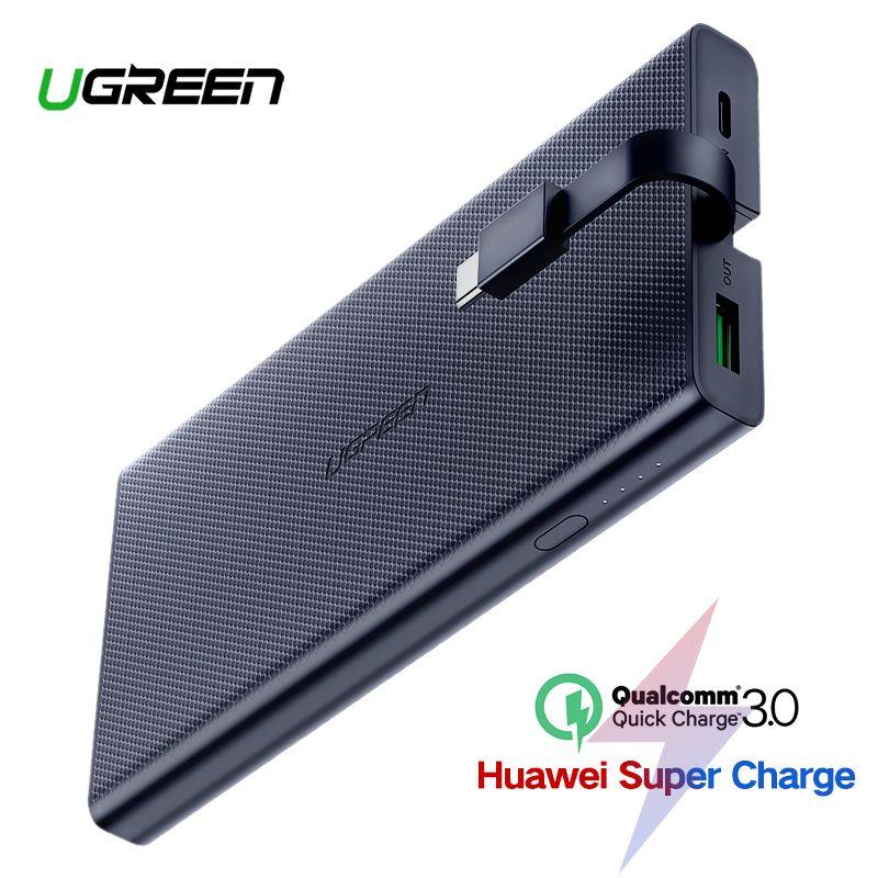Ugreen 10000 mAh batterie externe 18 W charge rapide 3.0 Powerbank batterie externe chargeur Pour Xiaomi téléphone portable Type C Poverbank