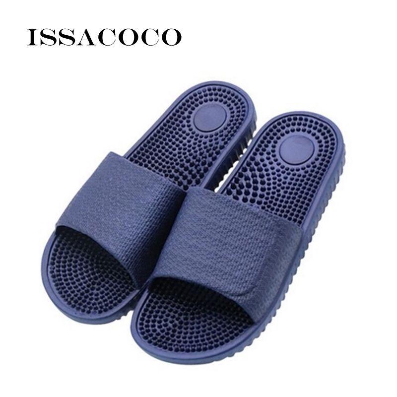 ISSACOCO Men's Flat Indoor Massage Slippers Men Home Non-slip Massage Slippers Zapatos Hombre Beach Flip Flops Men's Slides